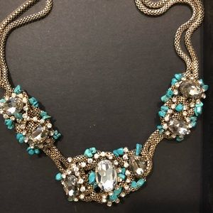 Turquoise Stone. Crystal Mesh Necklace Party On